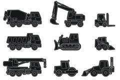 Construction machinery icons. Stock Illustration