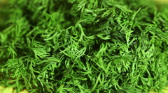 Chopped dill on a plate Stock Footage