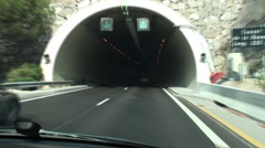 Car moving through the tunnel near the Nice city Stock Footage