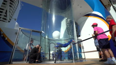 Skydiving simulator or wind tunnel on a cruise ship - Anthem of the Seas - stock footage