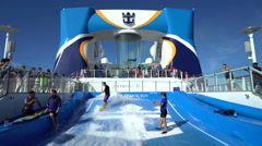 Cruise ship flowrider surf simulator pool -Anthem of the Seas Stock Footage