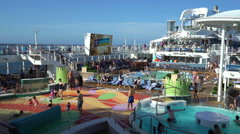 Cruise ship pool deck. Anthem of the seas  Stock Footage