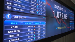 Share price information on a television screen at the Korea Exchange Stock Footage