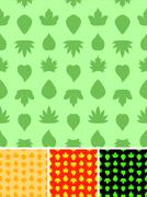 Saemless leaves pattern in different color variants. Stock Illustration
