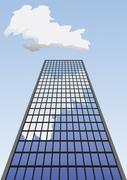 Vector illustration of skyscraper going up to the sky. Stock Illustration