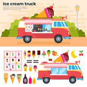 Ice cream truck in a hot day - stock illustration