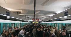 Porte des Versailles rush hour Metro Paris Stock Footage