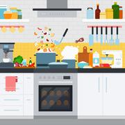 Kitchen with utensils and dishes, home cooking Stock Illustration