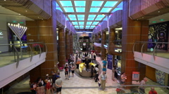 Inside of cruise ship, atrium and shopping, promenade deck - Anthem of the Seas  Stock Footage