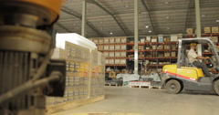 WS Worker Using Forklift to Transport Crate in Battery Factory (4K) - stock footage