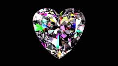 Iridescent Diamond Heart. Looped. Alpha Matte. - stock footage