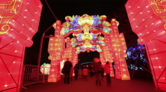 4K time laspe: Crowded Chinese people  at lantern festival,Shanghai China Stock Footage