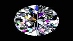 Iridescent Diamond Oval. Looped. Alpha Matte. Stock Footage