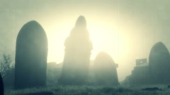 Old Scratched Film Of A Forgotten Fog Covered Graveyard - stock footage