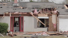 Tornado aftermath - damaged homes Stock Footage