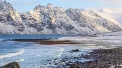 Waves in Lofoten beach Stock Footage