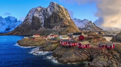 Reine fishing village in Lofoten, Norway Stock Footage