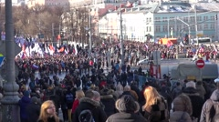 Protesters on the March in memory of Nemtsov Stock Footage