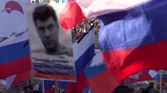 The portraits on the March in memory of Boris Nemtsov Stock Footage
