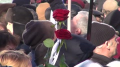 Mourning flower on the March in memory of Boris Nemtsov Stock Footage