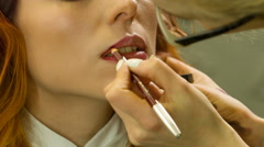 Professional Makeup Artist Uses Lip Pencil Stock Footage