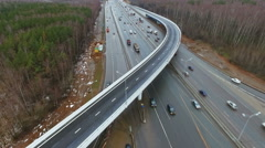 Highway With Road Junction Cars Traffic Day Autumn Bridge, Aerial View. With - stock footage