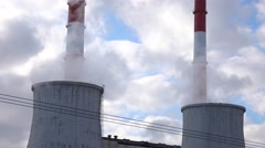Cooling towers and factory smoke stacks Stock Footage
