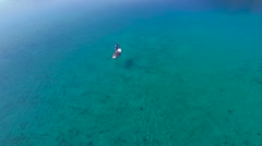 Stand Up Paddling in Mediterranean sea. Stock Footage