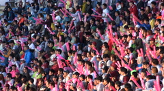 Excited Asian baseball crowds support their team to the victory, South Korea Stock Footage