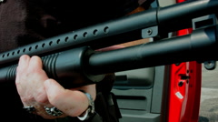 Shotgun pumping Stock Footage