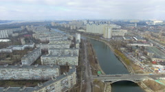 Kiev from height. flight quadrocopters - stock footage