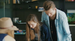 Young people well and cheerfully spend time together Stock Footage