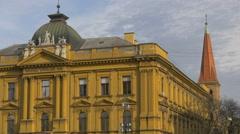 View of Hrvatski Ucitelski Dom in  Zagreb, Croatia Stock Footage