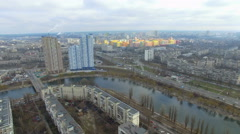 Panorama residential areas of Kiev. Flight quadrocopters Stock Footage