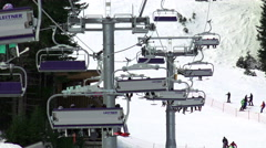 The Ski Lift at Bansko World cup ski slope Stock Footage