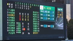 Score board of a baseball match in the Jamsil stadium in Seoul, South Korea Stock Footage