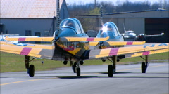 T-34Mentor Formation Taxi Away Stock Footage
