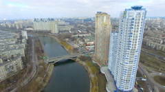 panorama of the new apartment building in Kyiv - stock footage