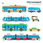 Types of city transport isolated on white - stock illustration