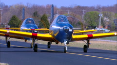 T-34Mentor Formation TaxiHeadOn Stock Footage
