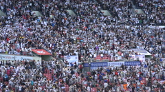 Happy cheerful baseball fans cheer for their team in Seoul, South Korea - stock footage
