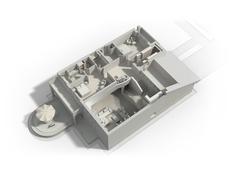 3D furnished house rendering - stock illustration
