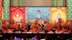 Buddhist ritual of monks in the monastery - Wat Khru Nok Stock Footage