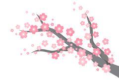 cherry blossom branch background - stock illustration