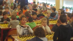 "Chess Tournament Enthusiastic Children Play Chess ""black Knight"" Club People Stock Footage"