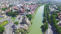 Aerial view of Tbilisi Stock Footage