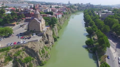 Aerial view of Metekhi church in Tbilisi Stock Footage