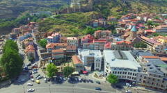 Aerial view of old town of Tbilisi Stock Footage