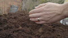 Adult Male Holding And Sieving Through Fresh Compost In Spring Stock Footage