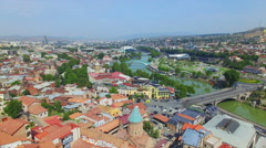 Aerial view of Tbilisi downtown Stock Footage